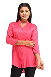 Snoby Pink Rayon Plain Shirt (SBY1163)