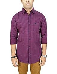 AA' Southbay Men's Maroon & Blue Checkered 100% Cotton Long Sleeve Casual Shirt