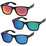 zeroUV - Rubberized Frame Reflective Mirror Polarized Lens Square Horn Rimmed Sunglasses 55mm (3 Pack Polarized   Blue )