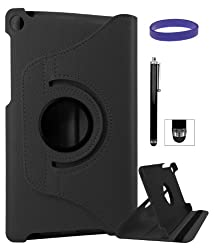 DMG Full 360 Rotating Stand Cover Case for ASUS Google Nexus 7 2013 Edition with Stylus +DMG Wristband -Black