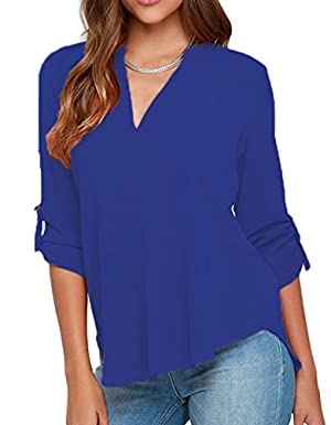 IF FEEL Womens Casual Loose V Neck Solid Flowy Sleeve Multicolor Shirt Top Blouse - Blue Size XXL