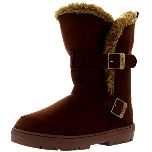 mujer-twin-buckle-short-fur-lined-impermeable-invierno-rain-nieve-botas-marron-41