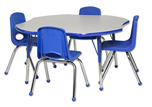 Ecr4kids 48 clover adjustable activity table w standard legs ball glides and four school - Table glides for legs ...