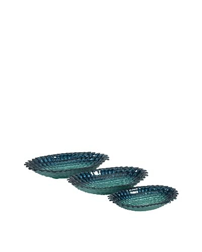 Set Of 3 Arena Glass Bowls, Ocean Blue As You See