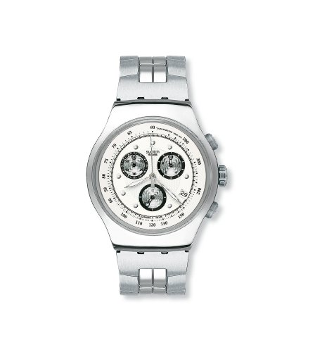 Swatch Mens Wealthy Star White Dial Bracelet Chronograph Watch
