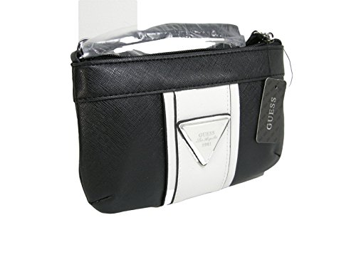 New Guess Logo Wristlet Purse Hand Bag Black White Multi Alhambra Slg Clutch