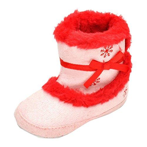 Kingko® Neonate morbida suola della greppia scarpe calde Appartamenti cotone avvio del bambino Prewalker Snow Boots Scarpe invernali (6~12 mesi)