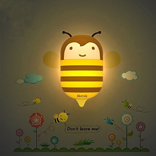 Pesp® Kids Infant 3d DIY Wall Stickers Cartoon Cute Wallpapers LED Night Light Lamp LED Saving Light (Little Bee)
