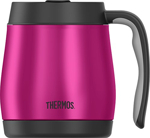 Thermos 16 Ounce Desk Mug, Stainless Steel/Magenta (Thermos Coffee Mugs compare prices)