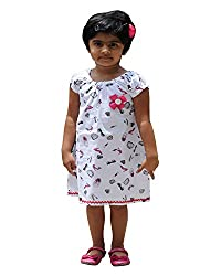 Snowflakes Girls' Dress (GFCKCNHSWE0434, White and Black, 3 - 4 Years)