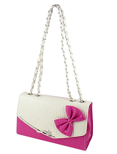 Lady Faux Leather Bow Tie Detail Nylon Lining 3 Layers Shoulder Bag