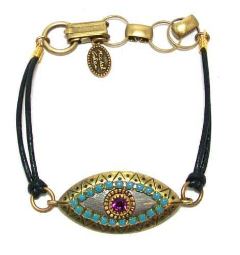 Michal Golan Turkish Bazaar Collection 24k Gold Plated Evil Eye Bracelet with Amethyst Swarovski Crystal