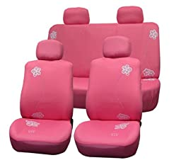 FH-FB053114 Floral Embroidery Design Car Seat Covers Pink Color by FH Group