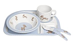 Lassig Lela The Fawn Melamine Dish Set, Light Blue