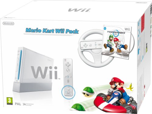 Nintendo Wii (White) with Mario Kart: Includes White Wii Wheel and Wii Remote Plus