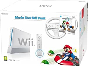 Nintendo Wii Console (White) with Mario Kart: Includes White Wii Wheel and Wii Remote Plus