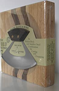 "7.25"" Block w/ Deep Dish Chopping Bowl and Umialik Ulu Knife with ""Alaska Cutlery"" Walnut Handle"