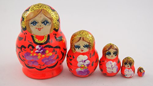 [Small Toy 5pcs Nesting Dolls Wooden Gift Handmade Neon Red with Neon Violet Flowers] (Babushka Doll Costume)
