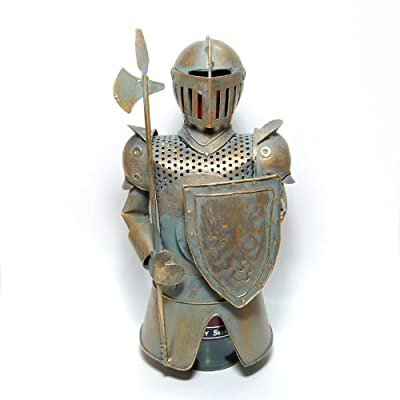 """Metal Medieval Knight Armor with Axe Spear Bottle Cover, Wine Holder, 12"""" Tall"""