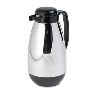 Hormel Vacuum Glass Lined Chrome-Plated Carafe, 1-Liter Capacity, Black Trim