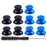 Mekela 5 Pairs Thumbsticks with Cross Screwdriver, Replacement Joystick Thumb Stick for PlayStation 4 PS4 Controller Gamepad (black1 and blue1) (Color: Blue1)