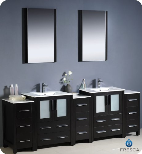 "Fresca Torino 84"" Modern Double Sink Bathroom Vanity W/ Three Side Cabinets & Two Integrated Sinks - Espresso front-746090"