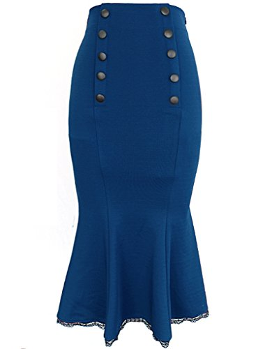 VfEmage Women's Elegant High Waist Party Work Mermaid Bodycon Pencil Midi Skirt 2