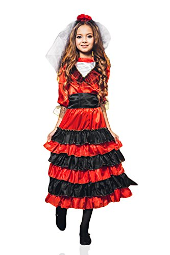 [Kids Girls Spanish Dancer Halloween Costume Gypsy Carmen Dress Up & Role Play (6-8 years, red,] (Childrens Salsa Costumes)