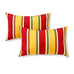 Greendale Home Fashions Rectangle Indoor/Outdoor Accent Pillows, Carnival Stripe, Set of 2