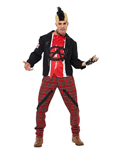 Mr Anarchist Punk Costume for Men with Jacket, Top and Trousers