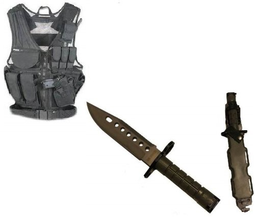 Ultimate Arms Gear Stealth Black Lightweight Edition Tactical Scenario Military-Hunting Assault Vest W/ Right Handed Quick Draw Pistol Holster + Od Olive Drab Green Lightweight Cut Stainless Steel M9 M-9 Military Survival Blade Bayonet Knife With Tactical