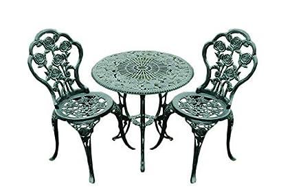 Balkonset hecho de hierro fundido con 2sillas y una mesa