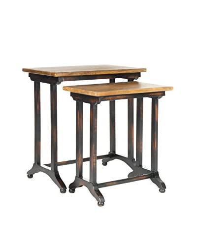 Safavieh Set Of 2 Annie Black Oak Nesting Tables, Black/Brown