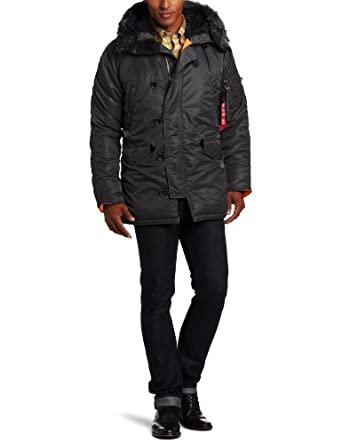 Alpha Industries Men's N-3B Slim Fit Parka, Black, Medium