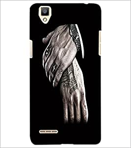 PrintDhaba Hands D-2193 Back Case Cover for OPPO F1 (Multi-Coloured)