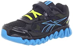 Reebok Mini Ziglite Rush Ac Running Shoe (Toddler/Little Kid/Big Kid),Black/Far Out Blue/Solar Green/Glow,4.5 M US Toddler
