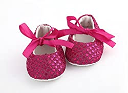 AkinosKIDS Newborn Fuschia Pink Soft Soled Sparkly Sequins non slip BabyGirl booties Slippers Crib Shoes