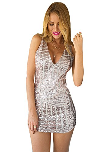 LookbookStore Women's Fashion Deep V Cocktail Champagne Sequin Party Dress US 2