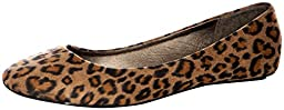 West Blvd Womens BALLET Flats Slip On Shoes Ballerina Slippers, Leopard Suede, US 7