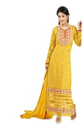 Heena khan yellow colored dress material