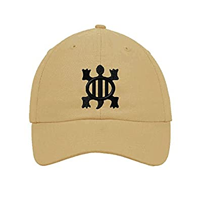 Denkyem West African Adinkra Symbols Embroidered SOFT Unstructured Hat Cap