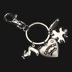 Guinness Heart Diamond key Ring with Bag Clip
