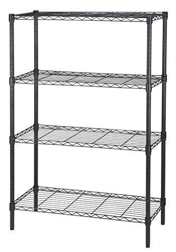 Finnhomy Heavy-duty Steel Wire Shelving Unit with Stable Leveling Feet, 4 Shelves, Black (Metal Storage Shelving Unit compare prices)