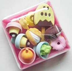 Japanese Ice Cream Desserts Food Erasers in Plastic Bento Box Eco Friendly Party Favors