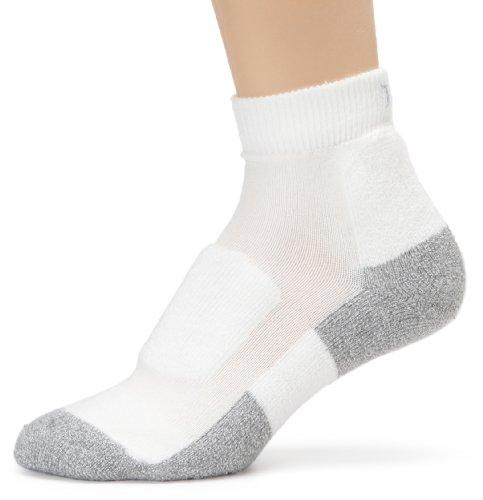 Thorlo Women's Thin Cushion Walking Mini Crew Sock, White/Platinum, Medium/10 Ladies 7-9
