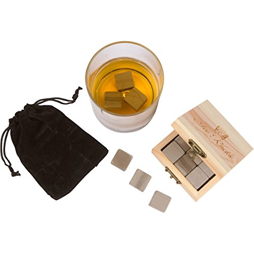 Ice Rocks - Set of Six Marble Whiskey Stones in a Wooden Gift Box, Includes Muslin Carrying Pouch Sipping Stones Perfect for Drinking Scotch, Whiskey, Soda, Beer, Wine and More!