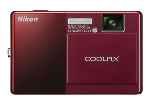 Nikon Coolpix S70 12.1MP Digital Camera with 3.5-inch OLED Touch Screen and 5x Wide Angle Optical Vibration Reduction (VR) Zoom (Red)
