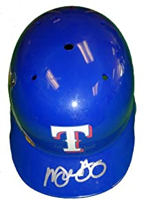 Michael Young Autographed Custom Blue Texas Rangers Photo Batting Helmet, Proof Photo by Southwestconnection-Memorabilia