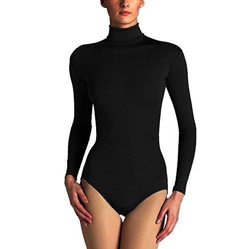 [Ladies Long Sleeve Turtleneck Bodysuit, Leotard Top in Black Size L (UK 14/16)] (Turtles Suit)