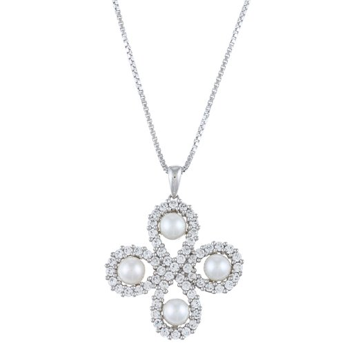 Sterling Silver Freshwater Pearl and Cubic Zirconia Clover Necklace (4.5-5 mm)